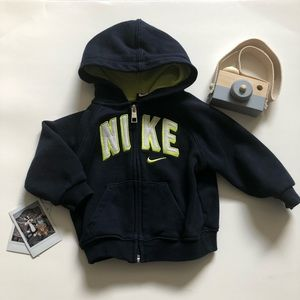 Nike Hoodie Full Zip Sweater Spell Out Blue Green